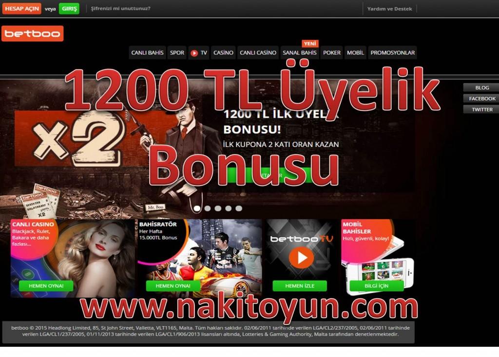 BETBOO İLK ÜYELİK BONUSU 1200 TL OLDU